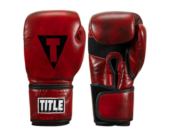 TITLE Boxing Blood Red Leather Training Gloves